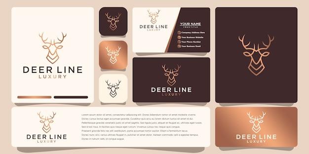 Logotipo de ciervo de lujo, con estilo de arte lineal y color dorado, inspiración para el diseño del logotipo, con diseño de tarjeta de presentación Vector Premium
