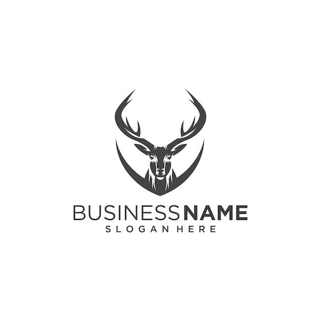 Logotipo clásico de cabeza de ciervo Vector Premium