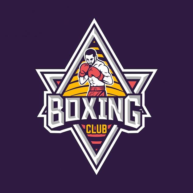 Logotipo del club de boxeo Vector Premium