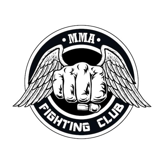 Logotipo del club de lucha con puño y alas. logotipo del club de boxeo y lucha con puño. vector gratuito