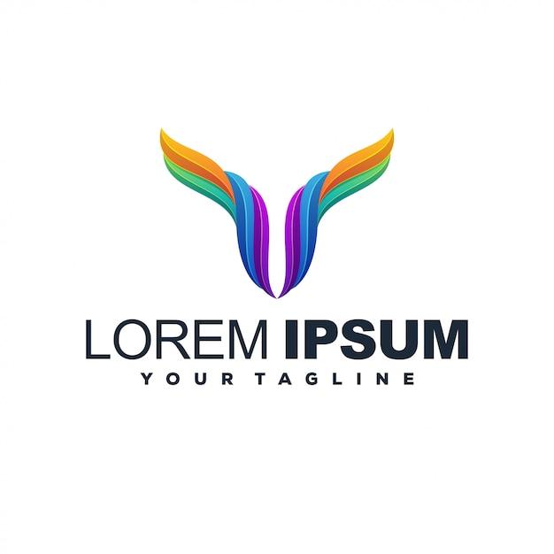 Logotipo de color abstracto moderno ciervo Vector Premium