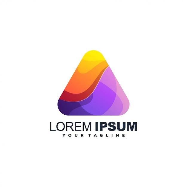 Logotipo de color degradado abstracto triángulo Vector Premium