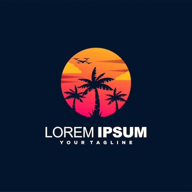 Logotipo de color degradado al atardecer playa Vector Premium