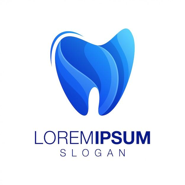 Logotipo de color degradado de diente Vector Premium