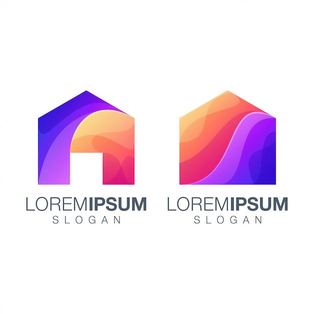 Logotipo de color degradado de inicio Vector Premium
