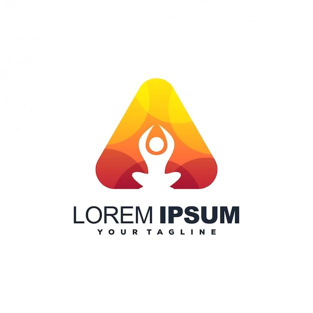Logotipo de color degradado de yoga triángulo Vector Premium
