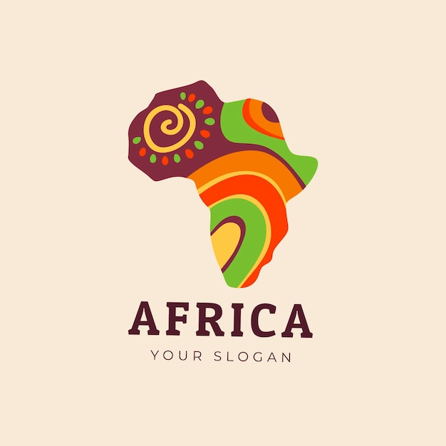 Logotipo colorido del mapa de áfrica vector gratuito