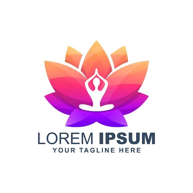 Logotipo colorido de yoga flor de loto Vector Premium