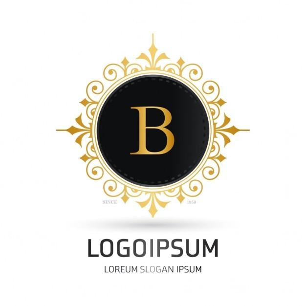 Logotipo con un marco redondo dorado | Descargar Vectores gratis