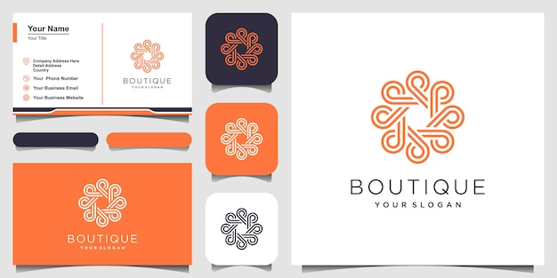 Logotipo de concepto de círculo de ornamento con estilo de arte de línea. infinito círculo símbolo redondeado ornamento monograma logotipo. diseño de tarjeta de visita Vector Premium