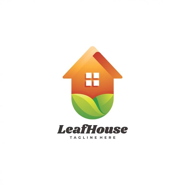 Logotipo de construcción de casa de hoja verde naturaleza Vector Premium