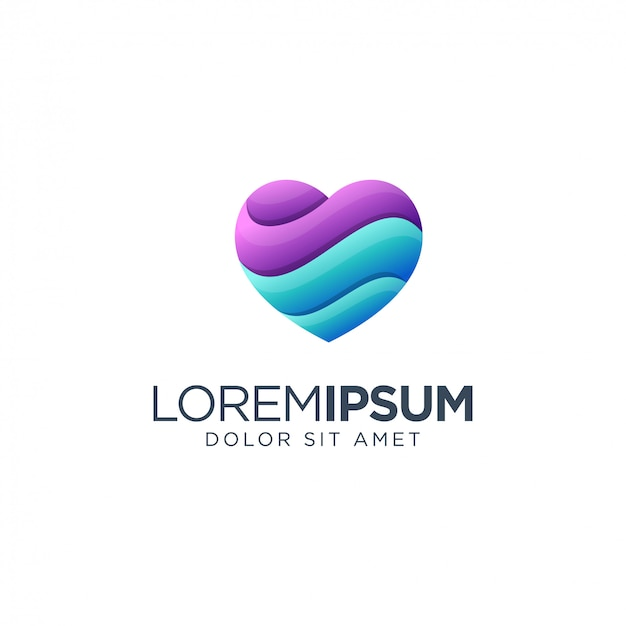 Logotipo del corazón Vector Premium