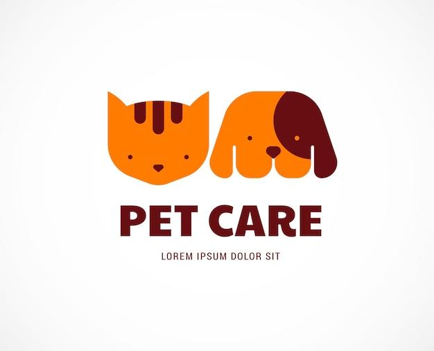 Logotipo de cuidado de mascotas Vector Premium