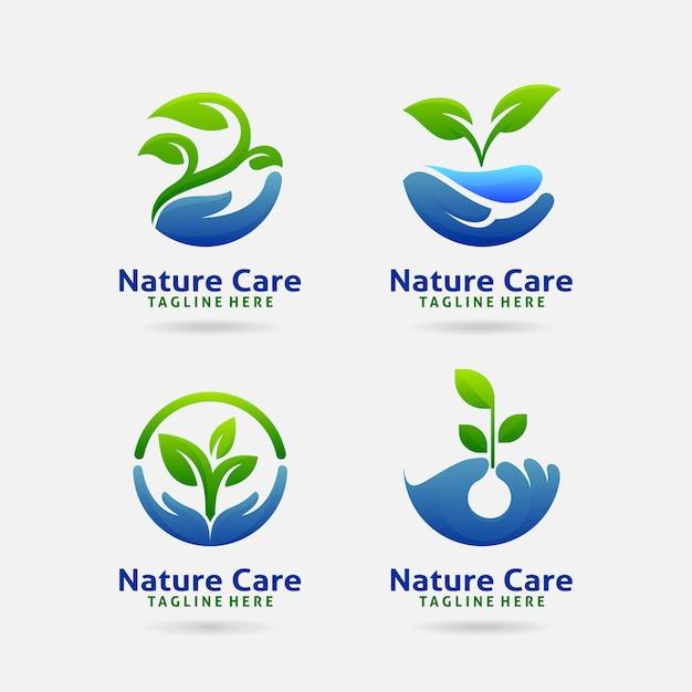 Logotipo de cuidado de la naturaleza Vector Premium