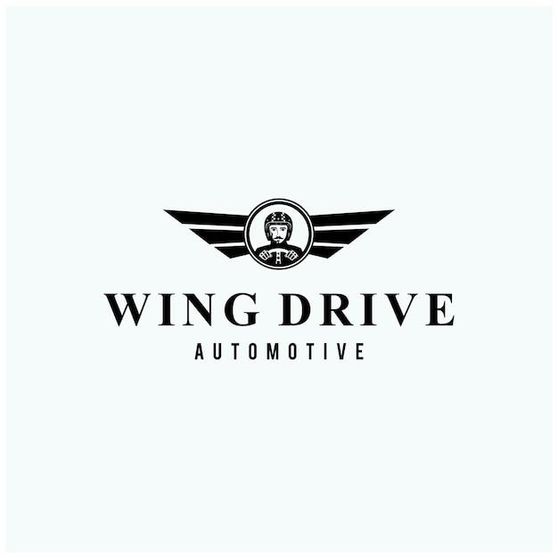 Logotipo del curso automotriz aislado en azul claro Vector Premium