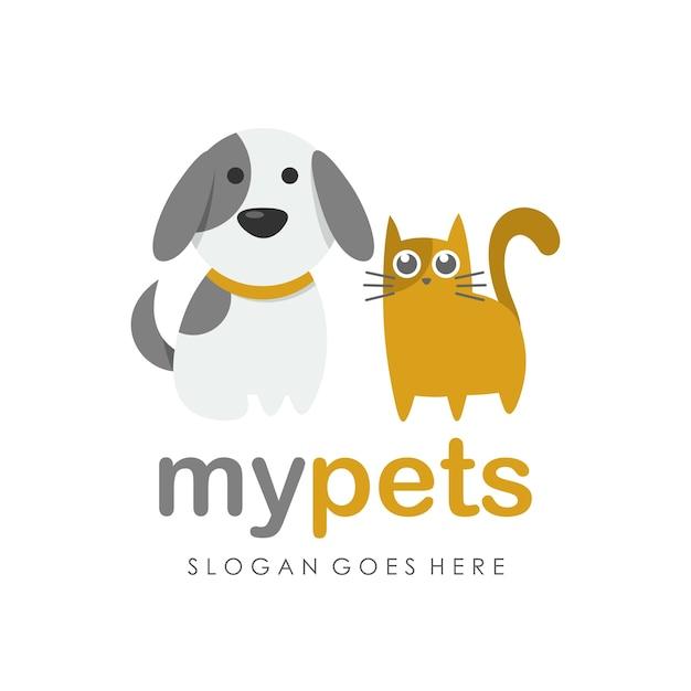Cat Dog Cartoon Logo