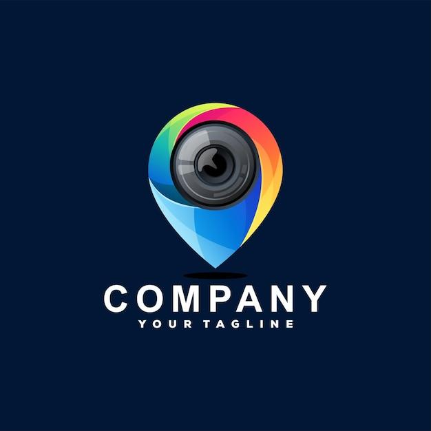 Logotipo degradado de pin de cámara Vector Premium
