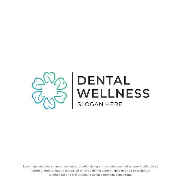 Logotipo dental inspiración diseño moderno Vector Premium