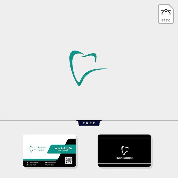 Logotipo dental y obtén diseño de tarjeta de visita gratis. Vector Premium