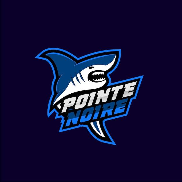 Logotipo del deporte tiburón azul Vector Premium