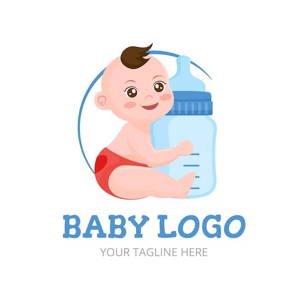 Logotipo detallado del bebé sonriente vector gratuito