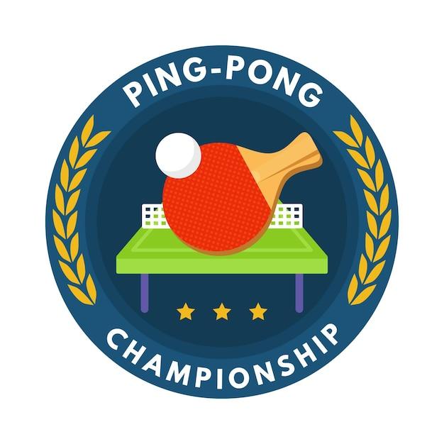Logotipo detallado de tenis de mesa con raqueta y pelota Vector Premium