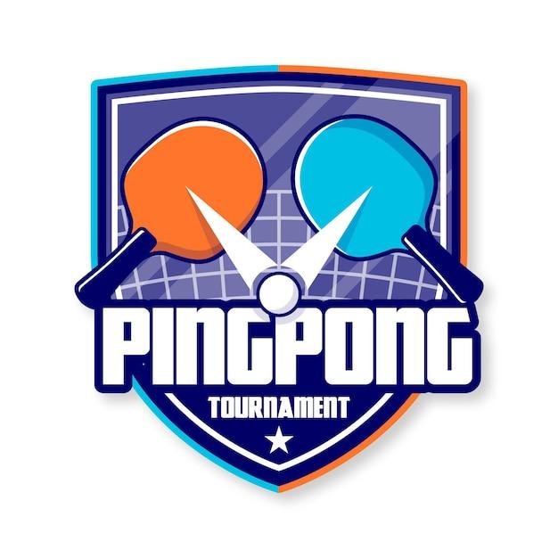Logotipo detallado de tenis de mesa Vector Premium