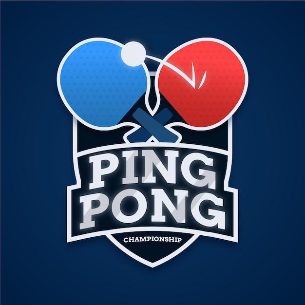 Logotipo detallado de tenis de mesa vector gratuito