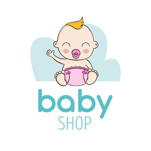 Logotipo detallado de la tienda de bebés vector gratuito