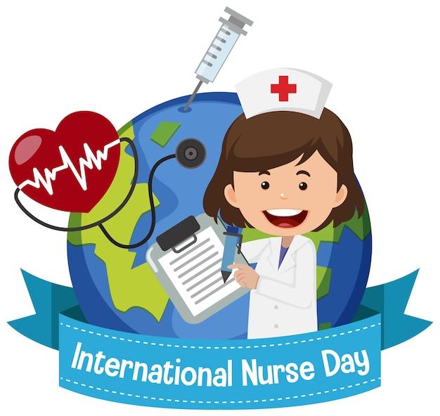 Logotipo del día internacional de la enfermera con linda enfermera en el fondo del globo Vector Premium