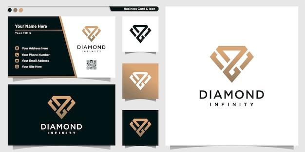 Logotipo de diamante con estilo de arte de contorno infinito y plantilla de diseño de tarjeta de visita Vector Premium