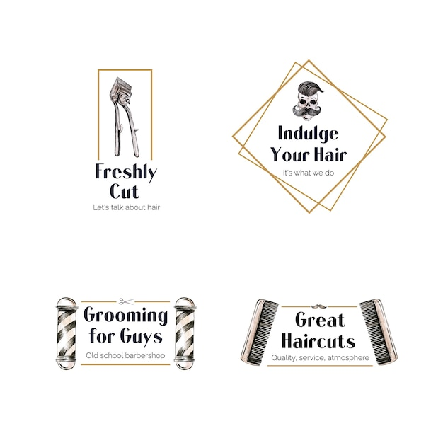 Logotipo con diseño de concepto de peluquero para la marca. vector gratuito