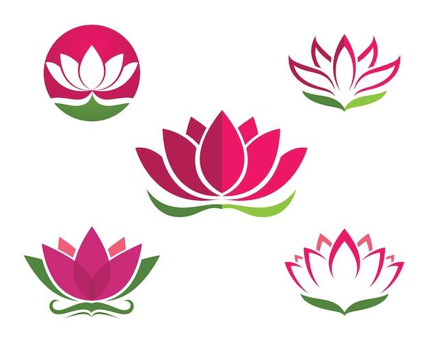 Logotipo de diseño de flores de loto icono de plantilla Vector Premium