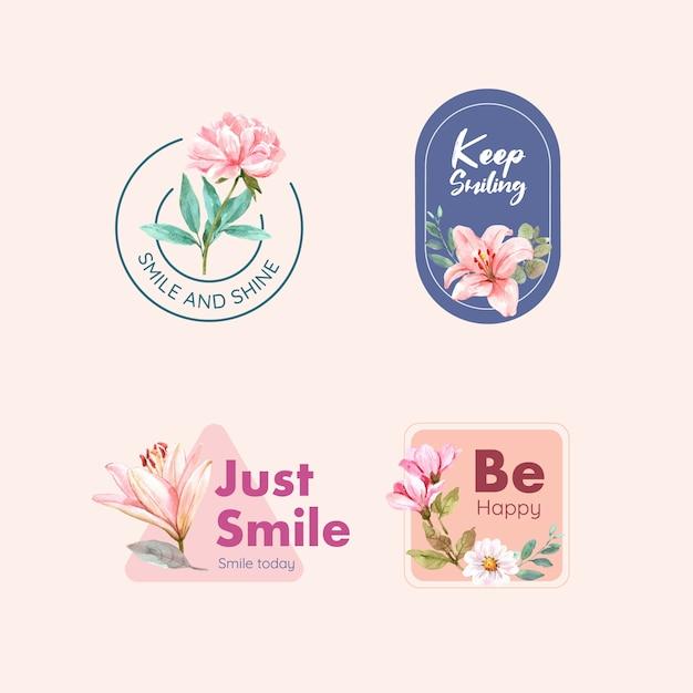 Logotipo con diseño de ramo de flores para el concepto del día mundial de la sonrisa para la marca y el marketing de ilustración vectorial de acuarela. vector gratuito