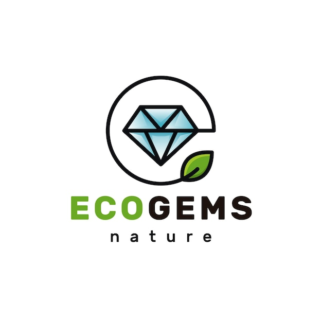 Logotipo de eco diamante Vector Premium
