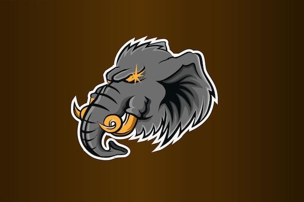 Logotipo de elefante head e sport Vector Premium