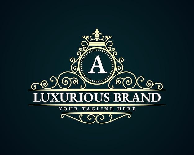 Logotipo de emblema caligráfico victoriano de lujo retro antiguo con marco ornamental adecuado para barbero vino carft tienda de cerveza spa salón de belleza boutique restaurante antiguo hotel resort clásico marca real Vector Premium