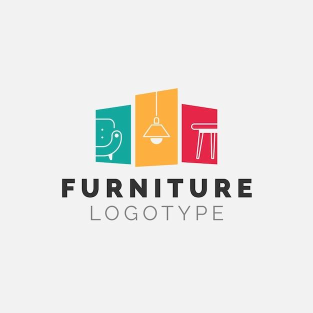 Logotipo de la empresa comercial de la marca de muebles minimalistas vector gratuito