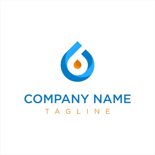 Logotipo de la empresa de gasóleo azul y naranja Vector Premium