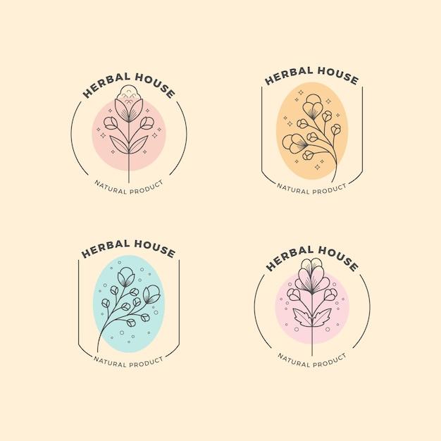 Logotipo de empresa natural en estilo minimalista vector gratuito