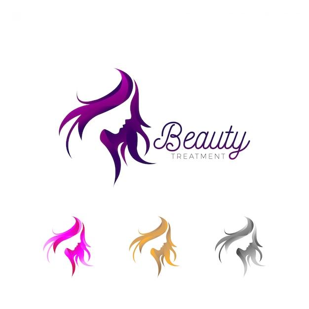 Logotipo de empresa de tratamiento de belleza Vector Premium