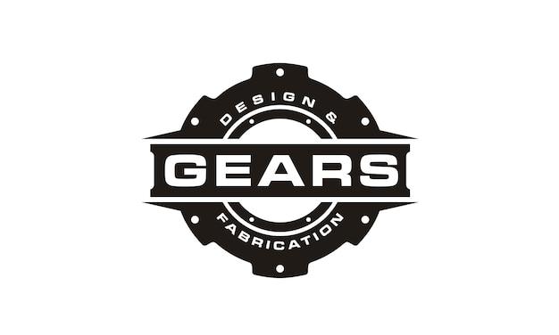 Logotipo de engranaje blanco y negro Vector Premium