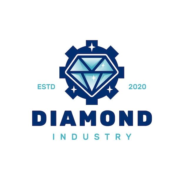 Logotipo de engranaje de diamante Vector Premium