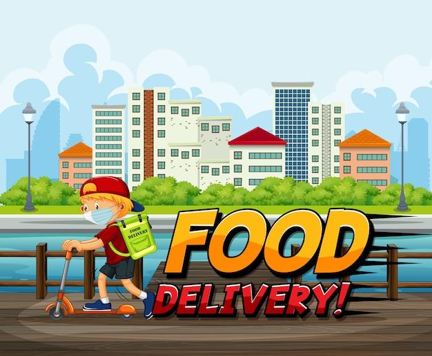 Logotipo de entrega de alimentos con mensajero en scooter en la ciudad vector gratuito