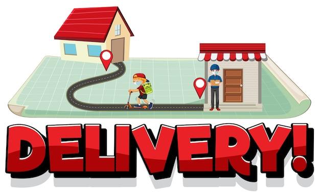 Logotipo de entrega con pin ubicar en casa vector gratuito