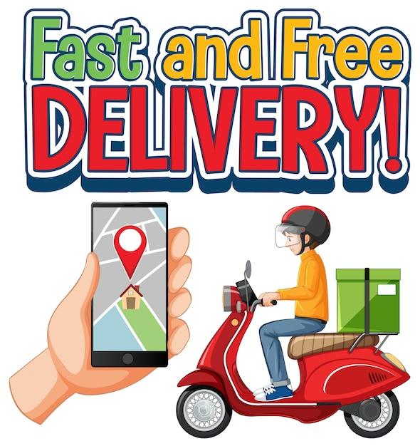 Logotipo de entrega rápida y gratuita con ciclista y mensajero vector gratuito