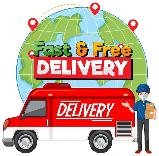 Logotipo de entrega rápida y gratuita con furgoneta o camión de reparto vector gratuito