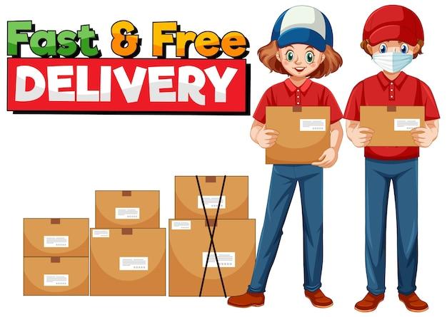 Logotipo de entrega rápida y gratuita con mensajería. vector gratuito