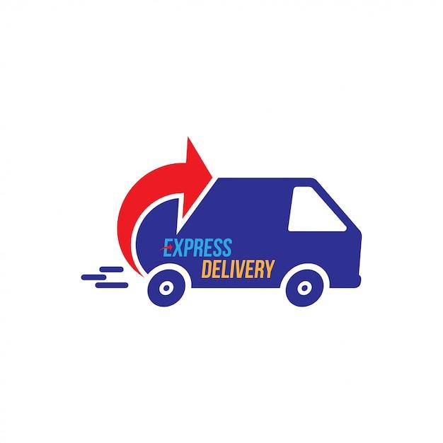 Logotipo de entrega urgente. envío rápido con temporizador de camión con inscripción Vector Premium