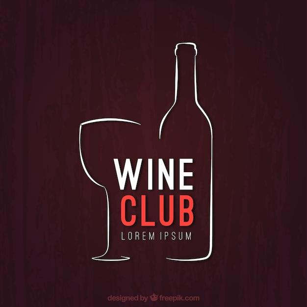 Logotipo esbozado de club de vino vector gratuito